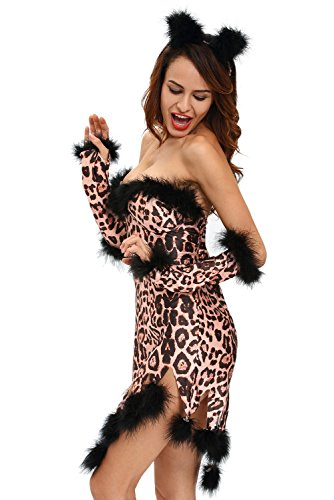 [Wisdoy Sexy 3pcs Fluffy Leopard Costume Set Adult Women Fairy Cat Tail Fancy Novelty Halloween Costumes Dresses] (Scary Cat Costumes)