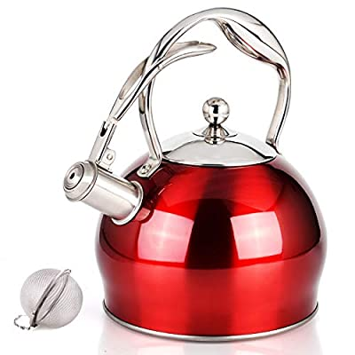 Sotya Whistling Stainless Steel Tea kettle Teapot Tea Pots for Stovetop Stove Top Teakettle with anti-hot gloves,3.17 Quart