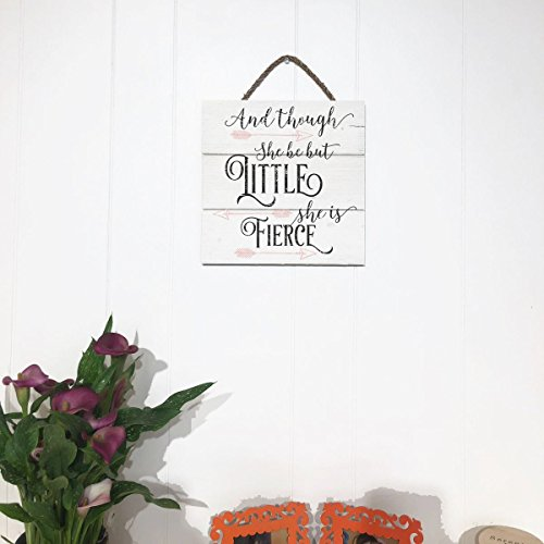 Artblox Rustic Nursery Room Sign And Though She Be but Little She is Fierce Quotes, Arrows Ornaments Artwork, Barn Wood Pallet Farmhouse Wooden Plaque Art Print, 10.5x10.5 - White by Artblox (Image #3)