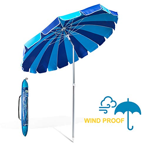 690GRAND Giant Heavy Duty 8FT Beach Umbrella with Crank Tilt and Carry Bag 20 Panels Sturdy Polyester Canopy Vents for Patio Camping UPF50+ -