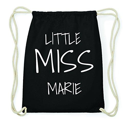 JOllify MARIE Hipster Turnbeutel Tasche Rucksack aus Baumwolle - Farbe: schwarz Design: Little Miss