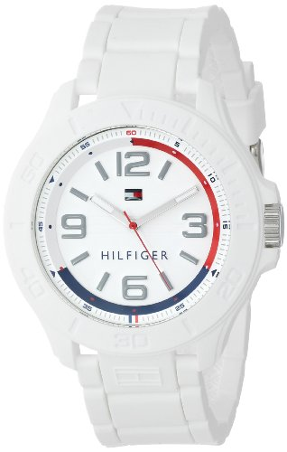 (Tommy Hilfiger Men's 1790942 Cool Sport Silicone Wrapped Case and White Silicone Strap Watch)