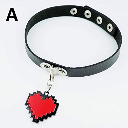 PAPRING Sans Necklace 15/20 inch Red Heart PU Leather Choker Fashion Undertale Small Zinc Pendant Mini Charm Christmas Halloween Birthday Gift Cute Jewelry Accessories Collectible for Kids Adults -