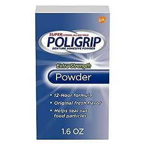 Super Poligrip Extra Strength Denture Adhesive Powder, Original Fresh Flavor, 1.6 ounce - Pack of 6