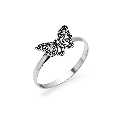 Nine2Five Butterfly Sterling Silver Round Band Ring, Charm Friendship Promise Ring Size 9