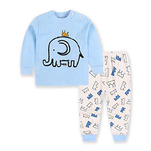 FTSUCQ Girls/Boys Toddler Cartoon Long Sleeve Pyjamas Top + Pants,Blue 80