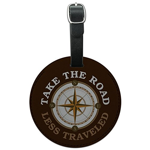 Take The Road Less Traveled Compass Round Leather Luggage Card Carry-On ID Tag
