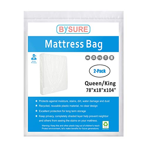 BYSURE Mattress Bag for Moving and Storage -Non-Transparent Mattress Sleeve Protecting Your Privacy, 2-Pack Fits Queen/King Size