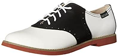Eastland Women's Sadie Lace-up Flats, Black and White, 7.5 US