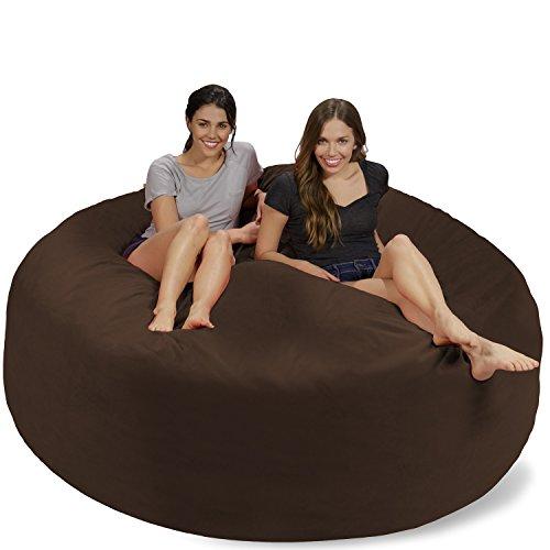 Chill Sack Bean Bag Chair: Giant 7' Memory Foam Furniture Bean Bag - Big Sofa with Soft Micro Fiber Cover - Brown Pebble