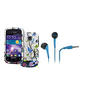 EMPIRE Samsung Illusion I110 Rubberized Design Hard Case Cover (Blue Vines) + Blue 3.5mm Stereo Headphones [EMPIRE Packaging]