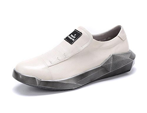 Uomini Pelle Pigro Scarpe Piatto Estate Primavera Vero singolo Caviglia Britannico Stile Tempo libero All'aperto bianca Nero Bianca