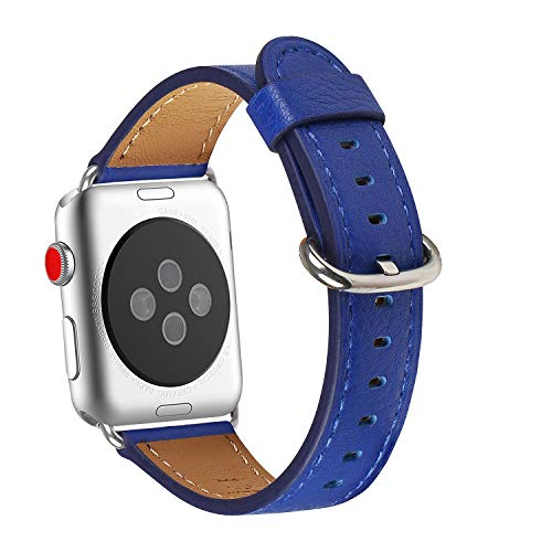 WFEAGL Compatible iWatch Band 38mm 40mm, Top Grain Leather Band Replacement Strap for iWatch Series 4,Series 3,Series 2,Series 1(Sapphire Blue Band+Silver Adapter,38mm 40mm)