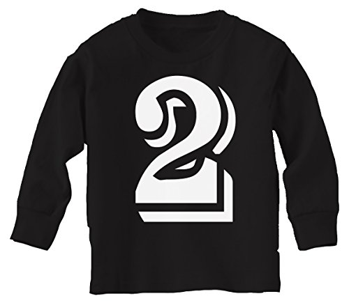 Custom Kingdom Boys/Girls Number 2 Two Second Birthday Long-Sleeved T-Shirt (2T, Black)
