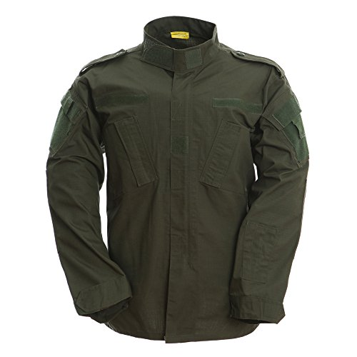 TACVASEN Men's Army Green Tactical Army Military Uniform Warm Combat Shirt Top Jacket Blouse L
