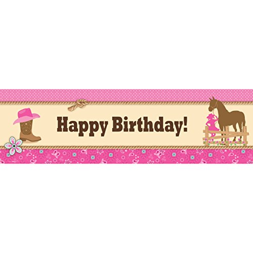 Western Cowgirl Party Party Decorations - Vinyl Birthday Banner (18