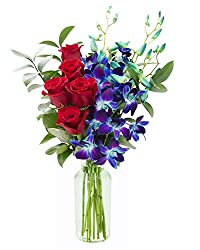 The best of both worlds, the most popular and best selling blue orchids mixed with everyone's favorite red roses. The five classic red roses mix with a spray of exotic blue orchids for a dramatic touch, then accented with fresh greens. An unforgettab...