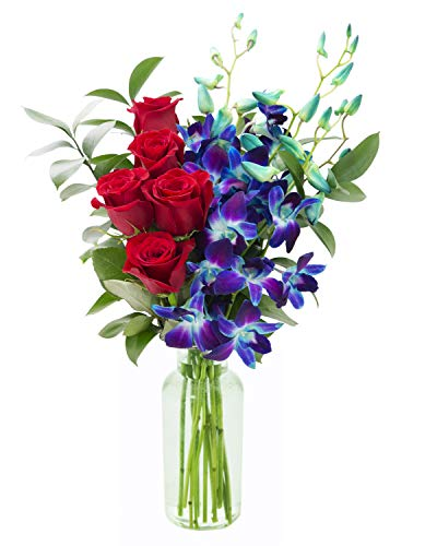 KaBloom Bouquet of Sapphire Blue Orchids and Red Roses: 5 Red Roses, 5 Blue Dendrobium Orchids and Lush Greens with Vase, 1 Set