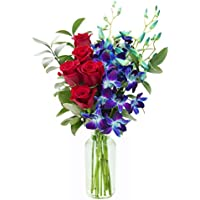 Kabloom Sapphire Red Bouquet of Fresh Red Roses & Exotic Blue Orchids with Vase