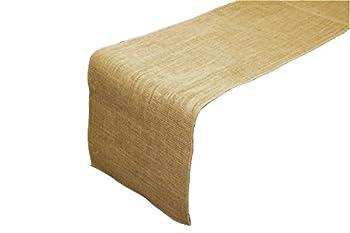 LA Linen 18 by 120-Inch Jute Burlap Table Runner / Pack of 1 / Natural.