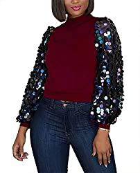 Women's Fall Top Long Sleeve Sequin Blouse
