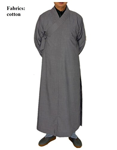 x Shaolin Monk Robe Kung Fu Clothing 5XL Cotton Grey ()