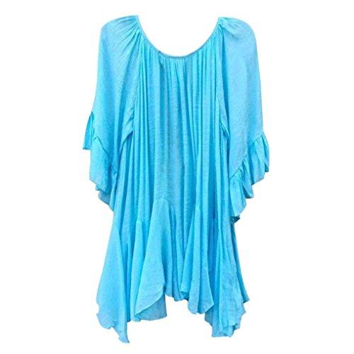 Tops Blouse Women Summer Fashion Boho Ruffle Shirts Butterfly Sleeve Irregular Tops Blouse