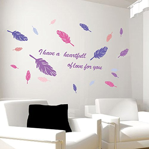 Wall Decal English Letters Colorful Feathers Home Sticker Paper Removable Living Dinning Room Bedroom Kitchen Art Picture Murals DIY Stick Girls Boys kids Nursery Baby Decoration
