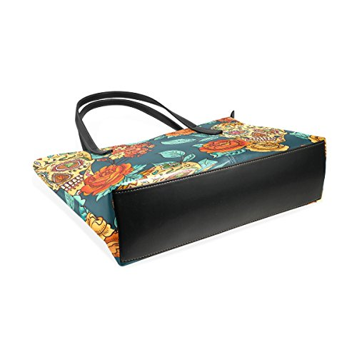 Coosun Skull Diamond und Blumen Hintergrund PU Leder Schultertasche Handtasche und Handtaschen Tasche für Frauen