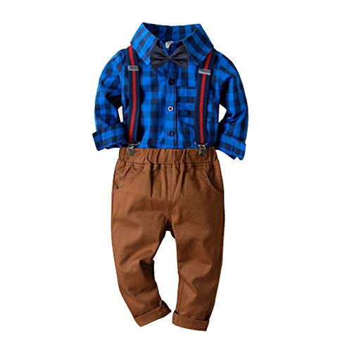 Toddler Boys Girls Outfit Kids Baby Plaid Bowtie Top T-Shirt Plaid Overalls Pants Gentleman Set (Age: 2-3Years, ()