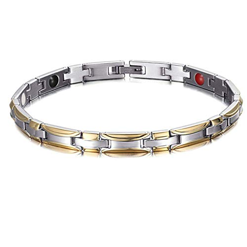 MTK 4 in 1 Ionic Magnetic and Stylish Bracelet, Ideal Gift for Men and Women Titanium Magnetic Therapy Bracelet Pain Relief for Arthritis Reduce Fatigue Improve Circulation