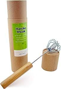 Coastal Tea Rotating Matcha Whisk, Chasen Alternative, Green Tea Mixer, Bamboo Push Handle Whisk