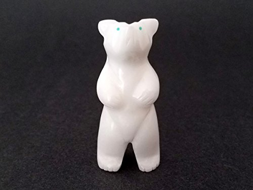 Hand Carved White Fossil Stone Standing Bear - Bear Stone Pendant