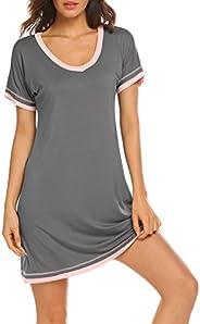 Ekouaer Sleepwear Women's V Neck Nightshirt Cotton Short Sleeve Nightgown Plus Size S-XXL