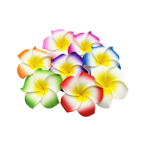 Ewanda store 100 Pcs Diameter 1.6 Inch Assorted Color Artificial Plumeria Rubra Hawaiian Foam Frangipani Flower Petals for Weddings Party Decoration
