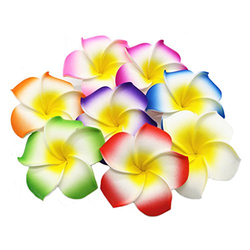 (Ewandastore 100 Pcs Diameter 3.2 Inch Assorted Color Artificial Plumeria Rubra Hawaiian Foam Frangipani Flower Petals for Weddings Party Decoration)