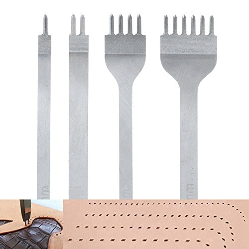 4mm Lacing Stitching Chisel Set Hole Punch Tool 4PCS 1+2+4+6 Prong Diamond Hand Working Hole DIY by Amon Tech
