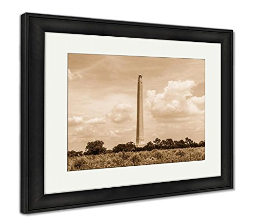 Ashley Framed Prints The San Jacinto Monument On A Nice Summer Day, Wall Art Home Decoration, Sepia, 34x40 (Frame Size), Black Frame, AG6412435 -