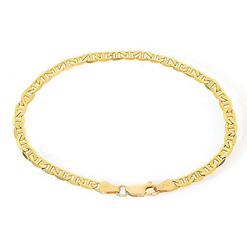 4.1mm 14K Yellow Gold Marine Curbe Gucci Link Chain Bracelet Italy