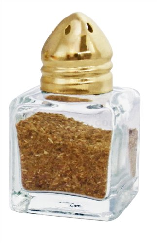 (New Star Foodservice 22223 Glass Cube Mini Salt and Pepper Shaker with Gold Plated Top, 0.5-Ounce, Set of 48)