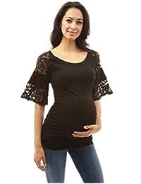 PattyBoutik Mama Lace Raglan Bell Sleeve Maternity Blouse