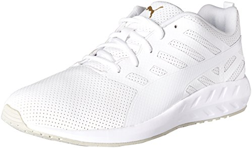 PUMA Men's Flare Leather Running Shoe, White, 7.5 M (Solas Flare)