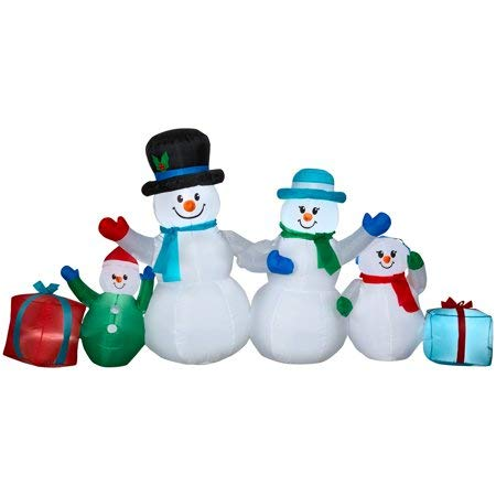Festive, Life-Size Lawn 9' Inflatable Winter Snowman Collection Scene ()