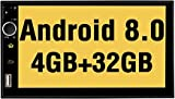 PUMPKIN Android 8.0 Car Stereo Double Din GPS Radio with 4GB RAM, WiFi, Support Fastboot, Backup Camera, Android Auto, 128GB USB SD, AUX, 7 inch Touchscreen