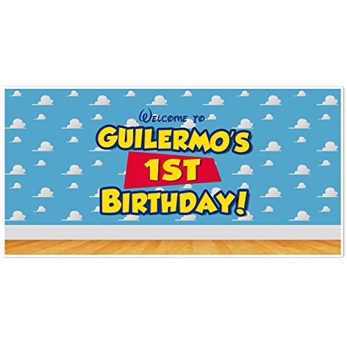(Toy Story Wall Birthday Banner Personalized Party Backdrop Decoration)