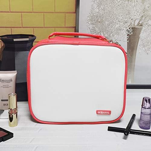 化粧品収納ボックス 化粧品収納ボックス付きポータブル分類済みスーツケース多層大容量化粧品バッグ模造革ブラックレッドピンクブルー SYFO (Color : Pink)