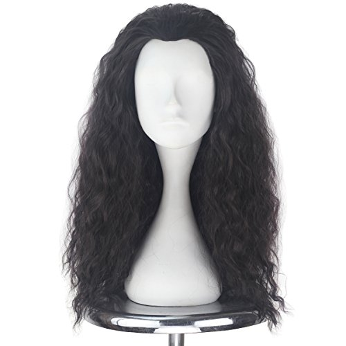 Men Adult Unisex Long Fluffy Curly Party Cosplay Costume Wig Halloween 80s Punk Wig (Dark brown) -