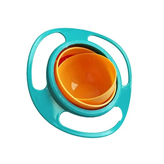 MODULYSS Kid's Magic Universal 360 Rotate Funny Toys Baby Gyro Feeding Toy Dishes Spill-Proof Bowl (Multicolor)