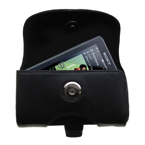 Gomadic Brand Horizontal Black Leather Carrying Case for the Sony Walkman X Series NWZ-X1061 with Integrated Belt Loop and Optional Belt Clip