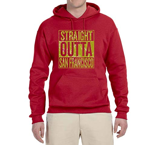 Straight Outta San Francisco SF Fan | Fantasy Football | Mens Sports Sweatshirt Graphic Hoodie, Red, 3XL